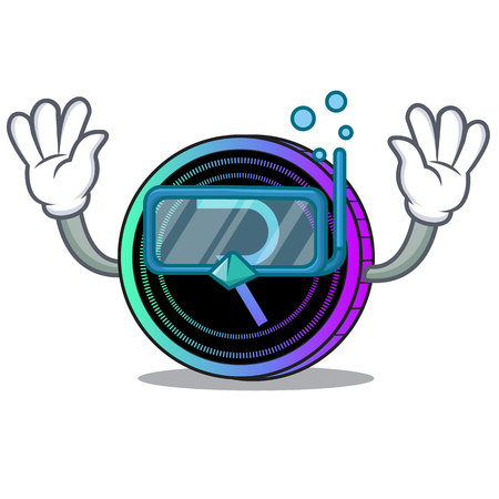 Diving request network coin character cartoon vector illustration Çizim