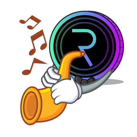 request network coin mascot cartoon With trumpet Stock Illustratie