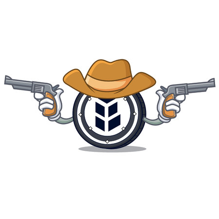 Cowboy bancor coin character cartoon vector illustration