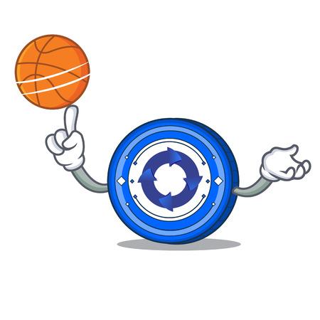 With basketball Cryptonex coin character cartoon