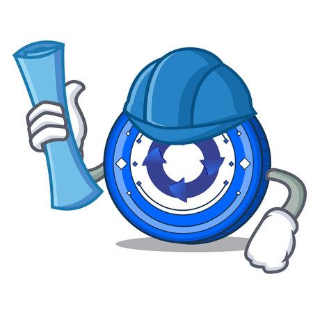 Architect Cryptonex coin character cartoon