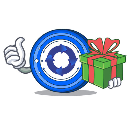 With gift Cryptonex coin mascot cartoon vector illustration