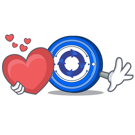 With heart Cryptonex coin mascot cartoon vector illustration