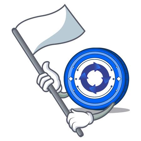 With flag Cryptonex coin mascot cartoon