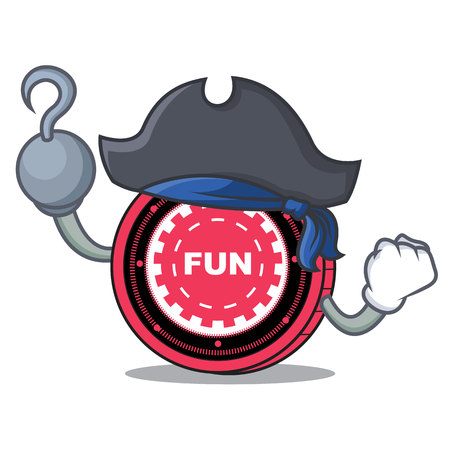 Pirate Fun Fair coin character cartoon vector illustration.