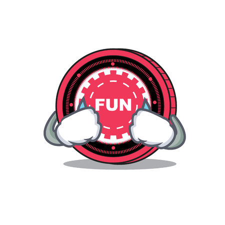 Crying FunFair coin mascot cartoon Illustration