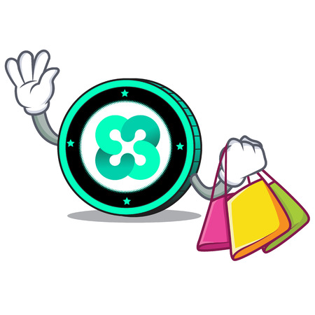 Shopping Ethos coin character cartoon vector illustration Illustration