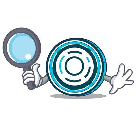 Detective Aion coin character cartoon Ilustração