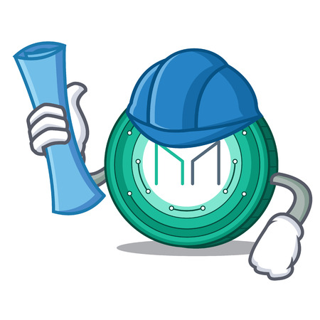 Architect Maker coin character cartoon vector Illustration