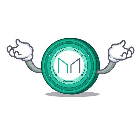 Hand up Maker coin character cartoon vector Illustration