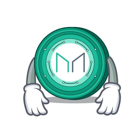 Tired Maker coin mascot cartoon vector Illustration