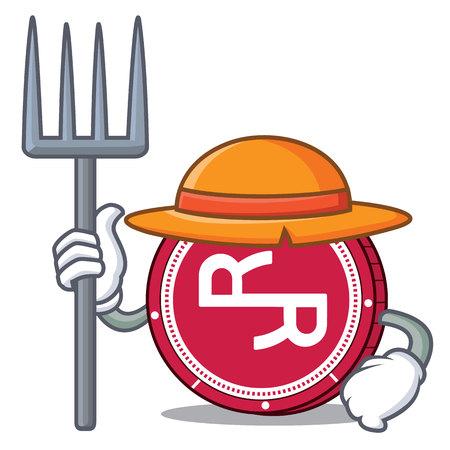 Farmer RChain coin character cartoon vector illustration