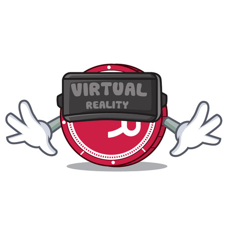 With virtual reality R Chain coin mascot cartoon vector illustration.