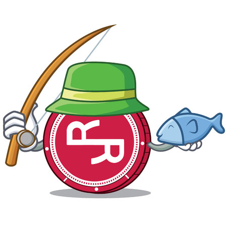 Fishing R Chain coin mascot cartoon vector illustration. Vektoros illusztráció