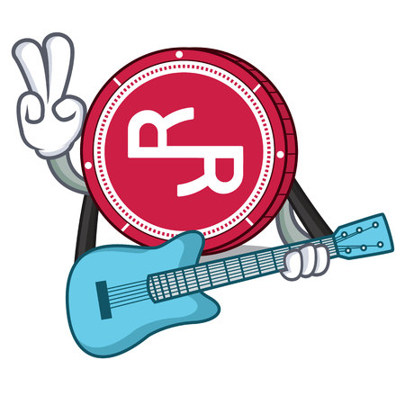 With guitar R Chain coin mascot cartoon vector illustration.