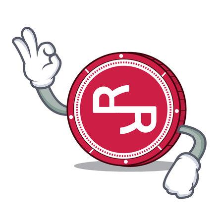 Okay R Chain coin character cartoon vector illustration.