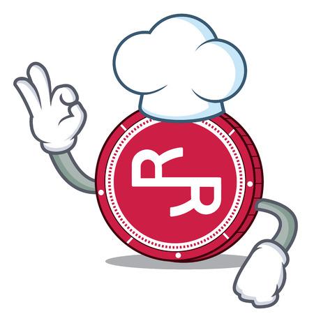 Chef R Chain coin character cartoon vector illustration.