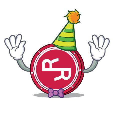 Clown RChain coin mascot cartoon vector illustration