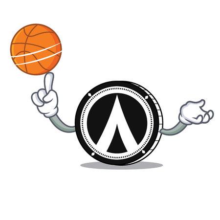 With basketball Dentacoin character cartoon style