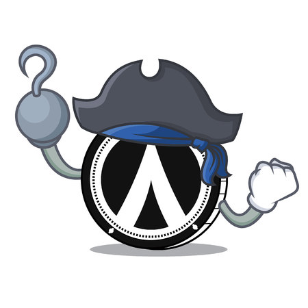 Pirate Dentacoin character cartoon style.