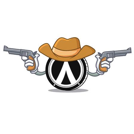 Cowboy Dentacoin character cartoon style. Illustration