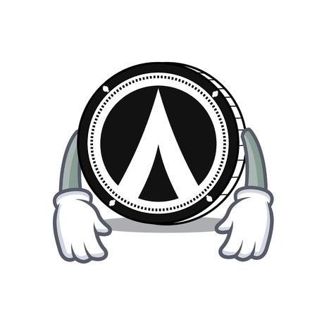 Tired Dentacoin mascot cartoon style