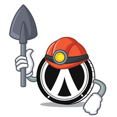 Miner Dentacoin mascot cartoon style