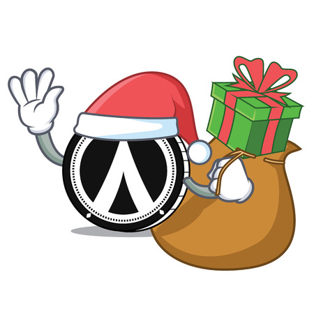 Santa with gift Dentacoin mascot cartoon style Illustration