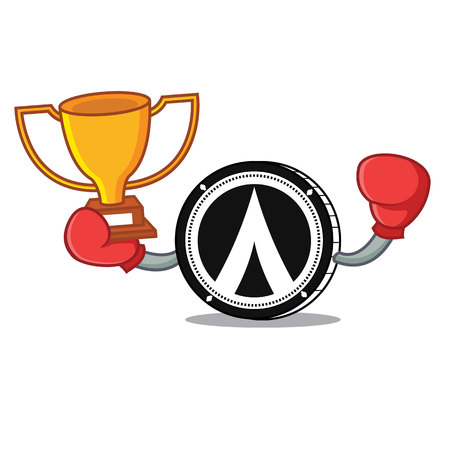 Boxing winner Dentacoin mascot cartoon style