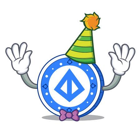 Clown loopring coin mascot cartoon vector illustration.