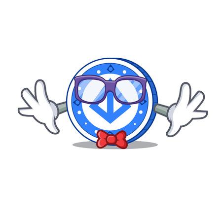 Geek loopring coin character cartoon vector illustration. Illustration