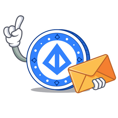 With envelope loopring coin character cartoon vector illustration.