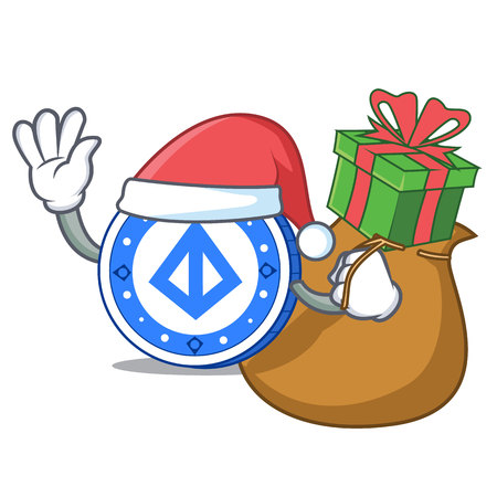 Santa with gift loopring coin mascot cartoon vector illustration.