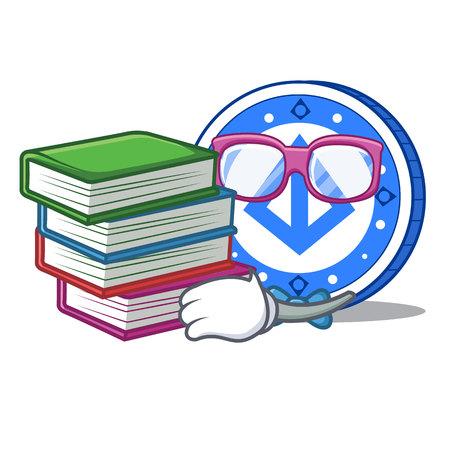 Student with book loopring coin mascot cartoon vector illustration Illustration