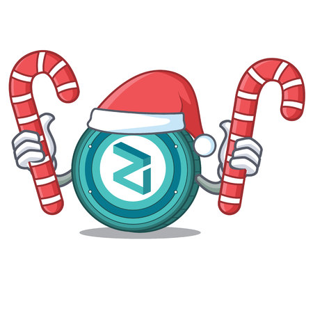 Santa with candy Zilliqa coin macot cartoon vector illustration