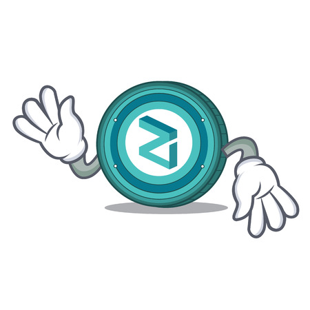 Crazy Zilliqa coin macot cartoon vector illustration Illustration