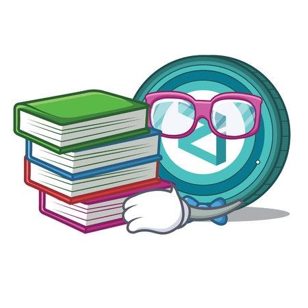 Student with book Zilliqa coin macot cartoon vector illustration. Illustration