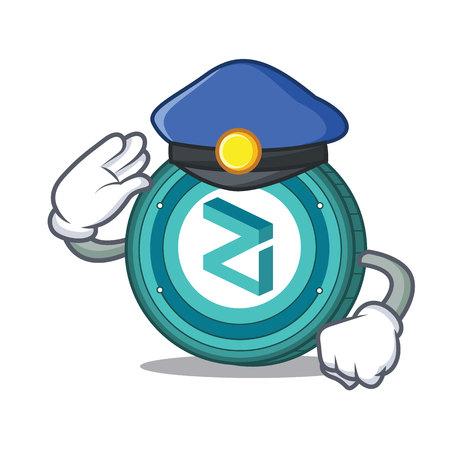Police Zilliqa coin character cartoon vector illustration