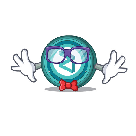 Geek Zilliqa coin character cartoon vector illustration
