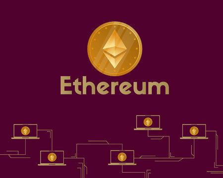 Blockchain ethereum symbol cryptocurrency background vector illustration Stock Illustratie