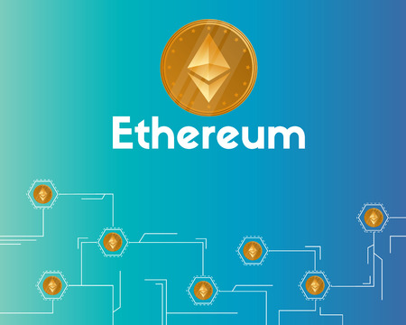 Blockchain ethereum cryptocurrency technology background vector illustration