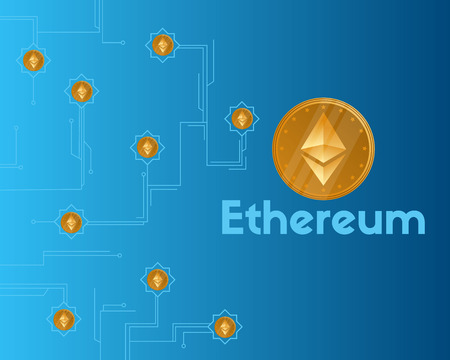 Blockchain ethereum cryptocurrency on blue background vector illustration