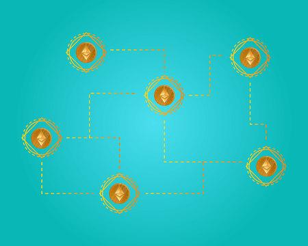 Blockchain ethereum cryptocurrency virtual background vector illustration