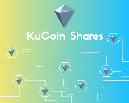 KuCoin Shares cryptocurrency network background vector illustration