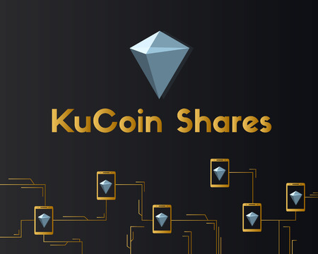 KuCoin Shares cryptocurrency on dark concept background vector illustration 일러스트