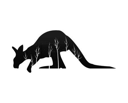 Silhouette of a kangaroo with pine forest illustration. Illustration