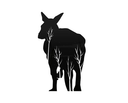 silhouette of a kangaroo with pine forest Vector illustration.