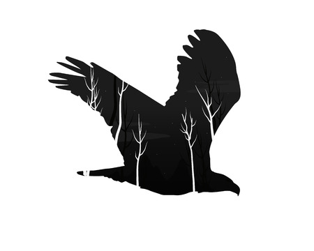 silhouette of an eagle with pine forest Vector illustration.