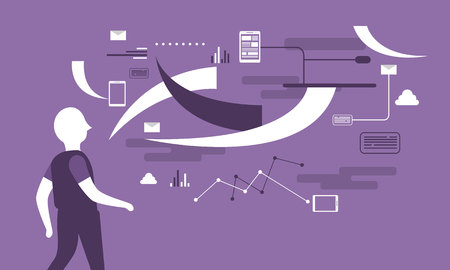 The code of life flat background with man silhouette on purple Vector illustration.