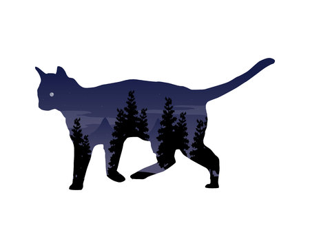 silhouette d & # 39 ; un chat avec un paysage d & # 39 ; Vecteurs